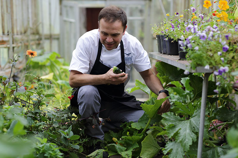 Executive Chef Craig Rowland picking crops in the Old Glasshouse