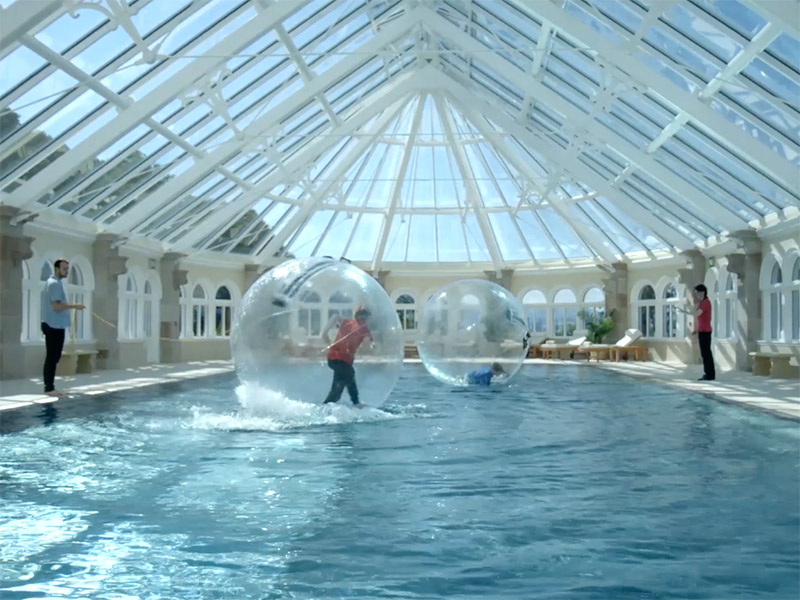 zorbing in swimming pool