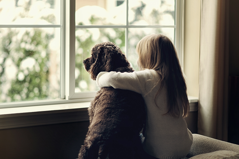 girl with dog at window